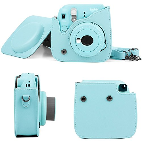 DNO Fujifilm Instax Mini 9/8 Camera Accessories (11 Piece Kit) - Includes Protective Case/Hanging Frames/Filters/Selfie Len/Photo Album/Stickers and More - Portable & Perfect Gift (Ice Blue)