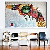 Danjiao Art Abstrait Pistolet Être Fait De Fruits Peinture Coloré Photos Wall Art Prints Affiches Pour Le Salon Décoration...