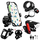 SODPE 7 Bicycle Accessories, USB Rechargeable Bicycle Light Set Plus Data Cable, Bicycle Password Lock, Bicycle Bottle cage, Bicycle Mobile Phone Holder, Bicycle Mirror and car Bell