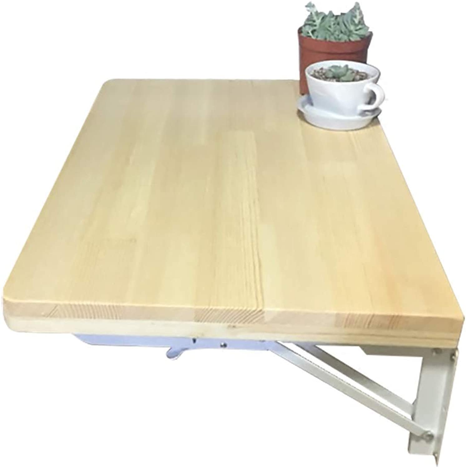 WFFXLL Folding Table Deciduous Wood Wall Hanging Table Study Table Computer Table Wall Table Bookcase (Size   60x40cm)