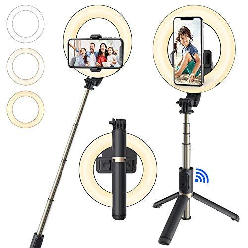 6.3'' Ring Light con Treppiede & Supporto, Luce ad Anello LED per TikTok/Youtube/Telefono/Trucco e Video con 3 Modalità Colore e 9 Luminosità Bluetooth Luce per Selfie Stick