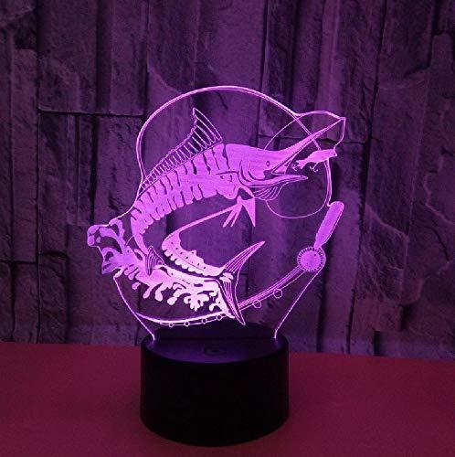 Nueva Luz De Noche 3D, Lámpara De Interruptor Táctil De Carpa De Pesca, Lámpara Led Usb Para Habitación De Niños, Luz De Noche Led, Accesorios De Iluminación 3D Inalámbricos