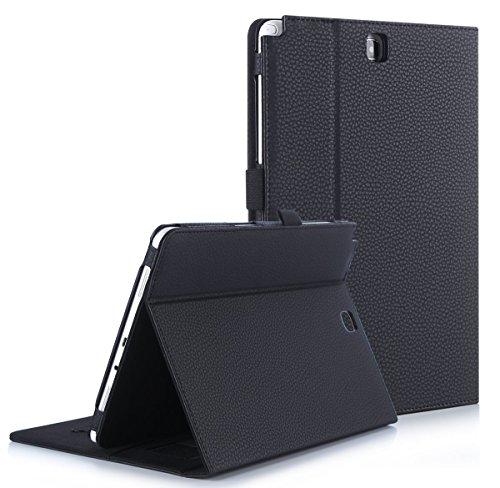 """FYY Case for Samsung Galaxy Tab A 9.7 - Premium PU Leather Case Stand Cover with Card Slots, Pocket, Elastic Hand Strap and Stylus Holder for Samsung Galaxy Tab A 9.7"""" (P550) Black"""
