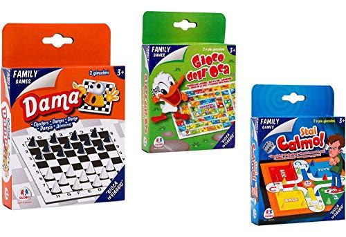 Globo giocattoli globo–36203oca/dama/Keep Calm mini Travel Family Games, Modelli assortiti, 1 pezzo