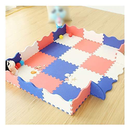 タイル カーペット ジョイントフロアマット ジグソーパズル プレイマット フェンス エッジング 1.4cm 折りたたみ可能 クロール フォームタイル アクティビティパッド、自由に組み合わせ可能 (Color : A, Size : 30pcs)