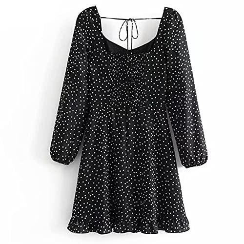 IJARL Women Vintage Polka Dot Lady Front Lace Up Waist Long Sleeve Ruffle A-line Dress Shorts