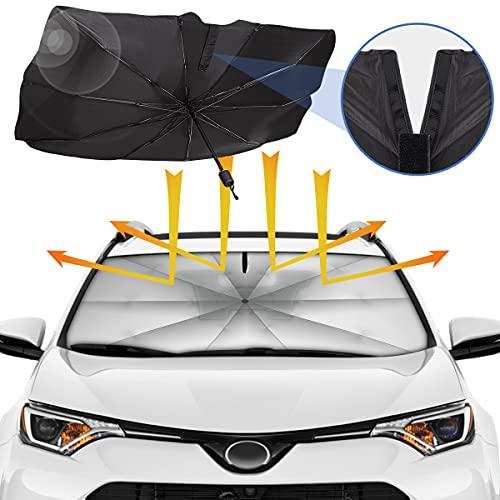 Sedan SUV Car Sun Shade for Windshield UV Rays and Heat Sun Visor Protector,Velcro Tapered Edge Opening,Foldable Windshield Sun Shade Umbrella,Keep Car Cool,Easy to Use/Store,57''x 31''