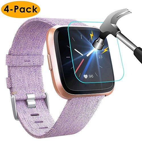KIMILAR Schutzfolie Kompatibel mit Fitbit Versa & Lite Edition Panzerglas (4 Stück), [Nicht Fit für Versa 2] Klarsicht Displayschutzfolie Folie für Fitbit Versa & Lite Edition Smartwatch - 9H Härte