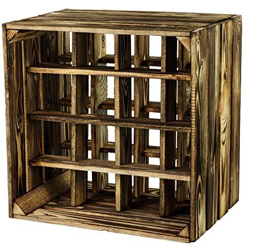 LAUBLUST Großes Vintage Weinregal - ca. 40x40x29cm, Holz Geflammt - Flaschenregal 16 Fächer | Weinaufbewahrung & Deko