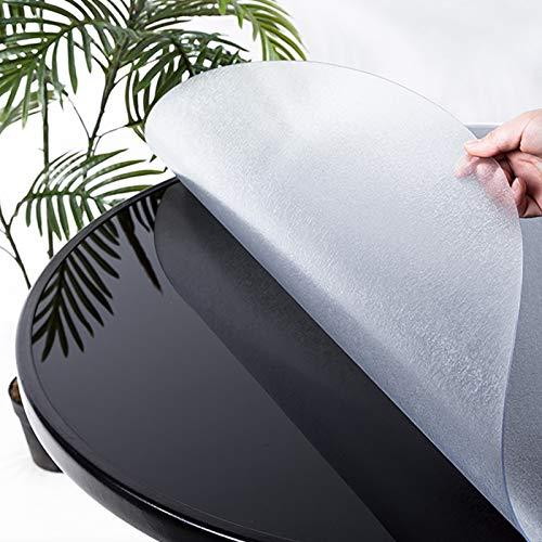 Mattierte PVC-Schutztischdecke,2 mm Klar Tischdecke,Hitzebeständige Tischdecke Tischfolie Schutzfolie Tischschutz,wasserdichte/ölbeständige Rund Tischdecke,18 Größen (70cm/28in)