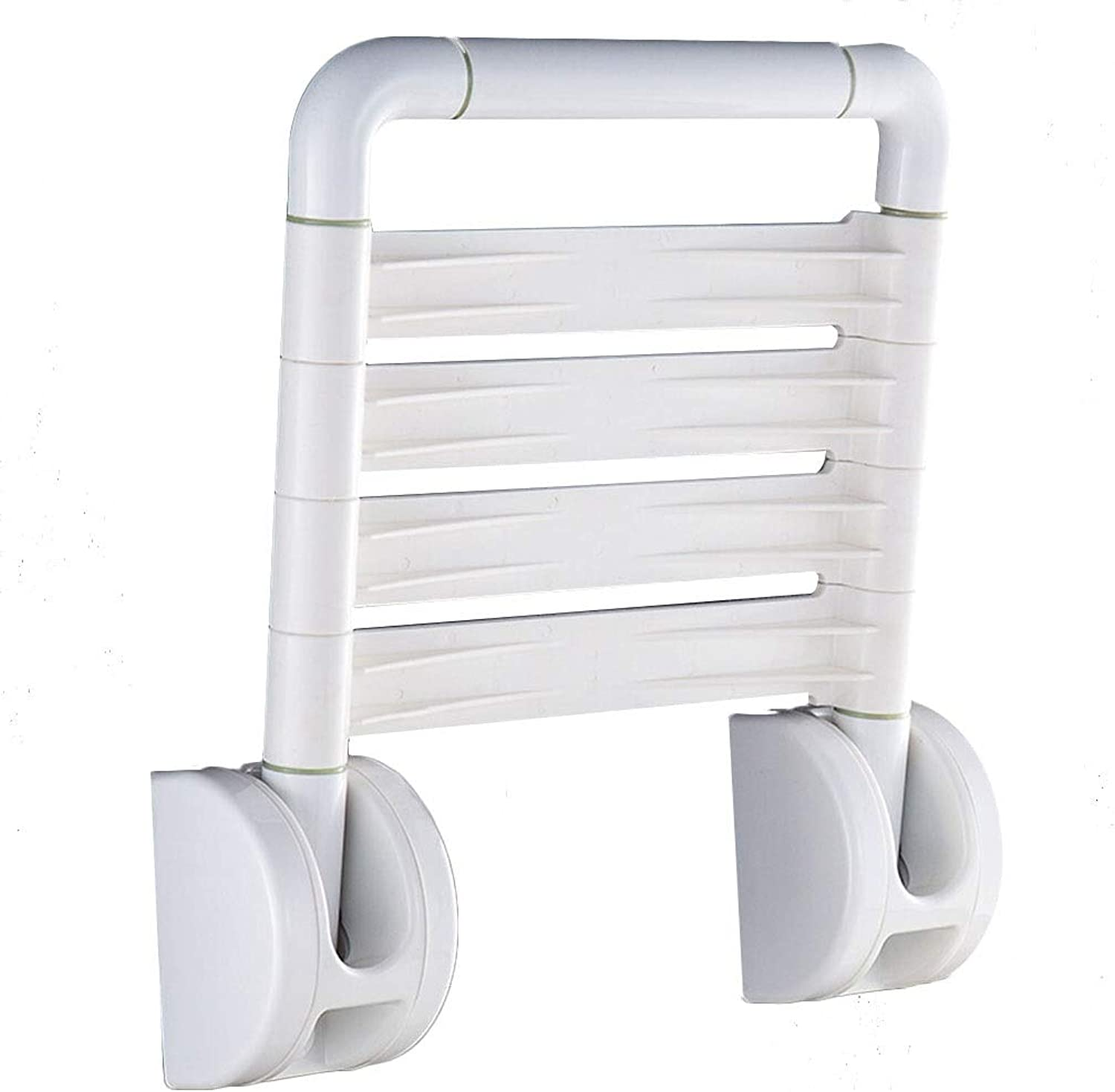 AGL-Bathroom Stools Wall-Mounted Bathroom Stools Plastic Fold Non-Slip Save Space Old Man Pregnant Woman Change shoes Bench, White (color   White, Size   35X40.5CM)
