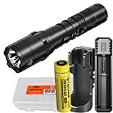 Nitecore P20 V2 1100 Lumen Tactical Flashlight with Hard Holster, 3500mAh Rechargeable Battery, a Charger and LumenTac Battery Case