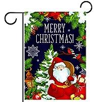 ガーデンフラッグ縦型両面 28x40in 庭の屋外装飾.クリスマスツリーとサンタの挨拶