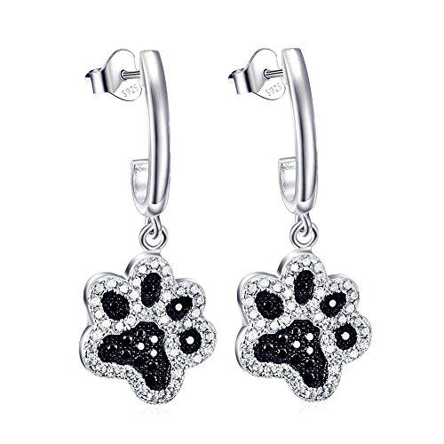 Pfotenabdruck Ohrringe 925 Sterling Silber Damen Schmuck zweifarbig Haustier Pfote Tropfen Ohrhänger Hund Ohrstecker