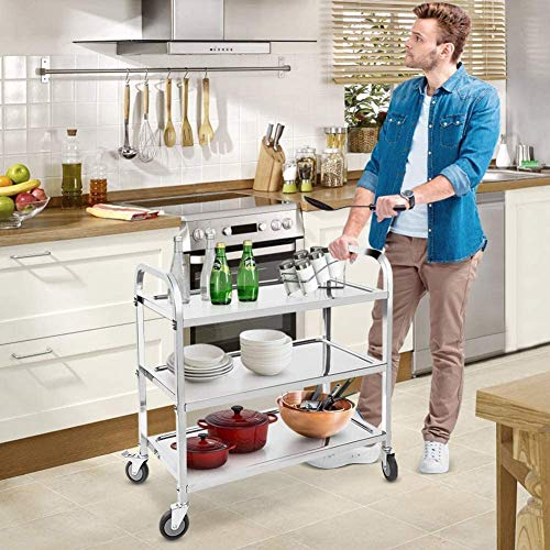 ybaymy 3 Tier Utility Rolling Cart, 95cm x 50cm x 95cm Stainless Steel...