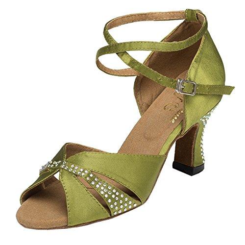 MINITOO Latin Salsa Donna Cinturino alla Caviglia Olive Verde Raso Internazionale Standard Scarpe da Ballo Sandali da Sposa EU 38