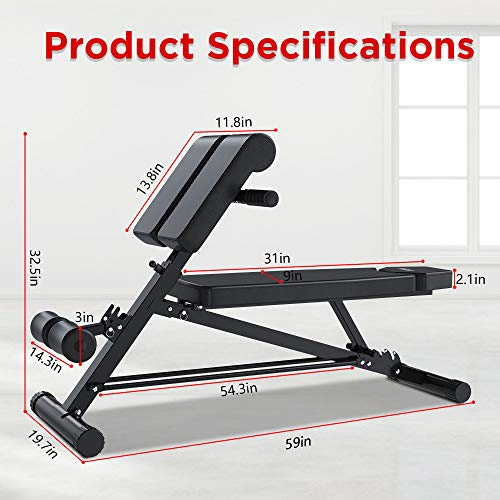 Yoleo Adjustable Weight Bench- 500lbs Utility Bench for Full Body Workout; Multi Purpose Decline Fitness Bench Roman Chair; Sit Up Abs All-in-One Hyper Back Extension Exercise Bench