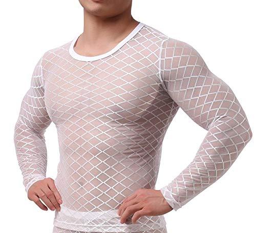 Herren Transparent Weiss Langarm Tank Top Shirt Nachtwäsche Männer Reizvoll Unterwäsche Slim Muscle Shirt Nylon Hemd Sexy Unterwäsche Herren Unterhemd Mesh Top durchsichtiges Oberteil (S/M)