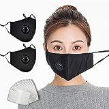 Eatasty 2pcs cotone viso sicurezza maschera lavabile e riutilizzabile, bandane con valvola di respirazione con attivati ??10 pcs carbonio filtrante sostituibile filtra la foschia (nero)