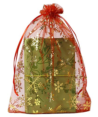 SUNGULF 100pcs Organza Pouch Bag Drawstring 6'x9' 16x22cm Strong Gift Candy Bag Jewelry Party Wedding Favor (Red Snowflake)
