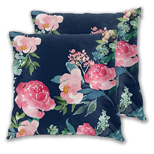 Nonebrand Watercolor Peony Navy and Pink Throw Pillow Covers,Floral Pattern Decorative Pillowcase Double Side Print Cushion Covers for Sofa Couch Bed 18x18 Inches,Set of 2