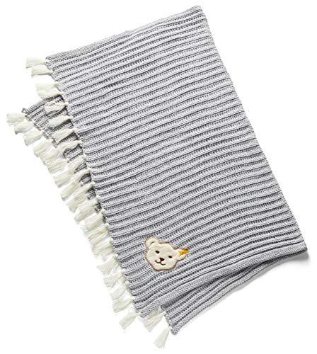 Steiff® Baby Strickdecke GOTS Bio-Baumwolle, Präzise Farbe:Grau