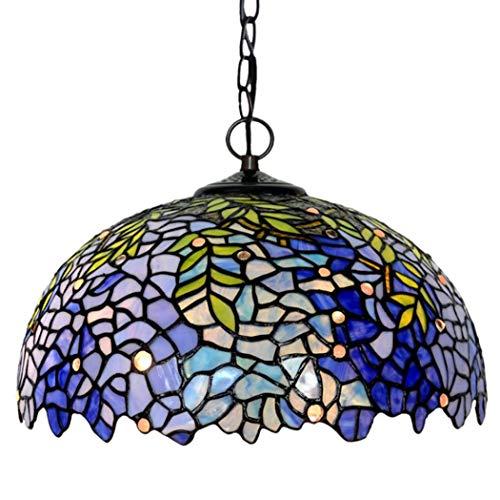 Yjmgrowing hanglamp in Tiffany-stijl met blauwe Wisteria geStained glas antieke plafondlamp met ophangsysteem licht fixture voor woonkamer, slaapkamer, 220 V, E27/E14