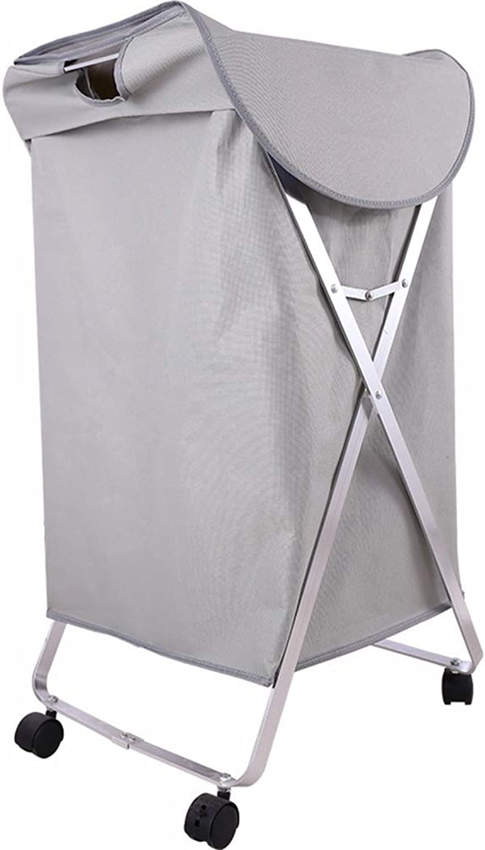 ZHANGQIANG Storage Basket Laundry Basket Large Laundry Basket ,with Lather Handle and Wheel, Collapsible Fabric Laundry Hamper, Foldable Clothes Organizer, Folding Washing Bin