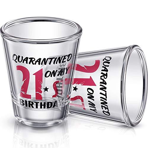 2 Pieces 21st Birthday Wine Glass Quarantined on My 21st Birthday Glasses 2 oz Social Distance Glass for Celebrating Turning Twenty One Birthday Party Supplies