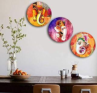 Studio Shubham Wooden Lord Ganesha Art Wall Plates for Hanging (7.5 Inch, Set of 3)