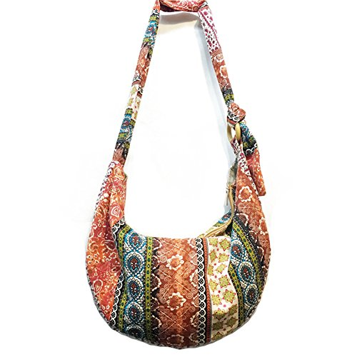 KARRESLY Women's Sling Crossbody Bag Thai Top Handmade Shoulder Bag with Adjustable Strap(3-511)