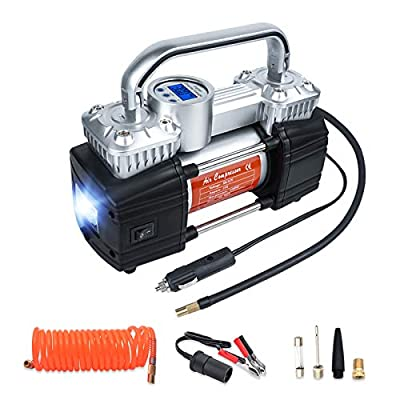 GSPSCN Portable Car Tire Inflator with Digital Gauge 150Psi Auto Shut-Off, Heavy Duty Double Cylinders 12V Air Compressor, Tire Pump LED Light for Auto,Truck,Car,Bicycles,RV,SUV,Balls etc.