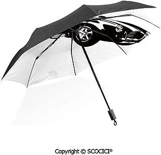 SCOCICI Folding Umbrella Windproof Pop Art Stylized Group of Nostalgic American Muscle Cars with Stars Sun Protection with Black Glue Anti UV Coating Travel Umbrella