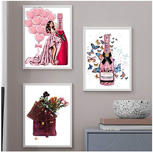 nobrand Wandkunst drucken Leinwand Malerei Mode Mädchen Tasche Ballon Champagner Salon Plakate und Drucke Wandbilder für Wohnzimmer 40x50cm (15,7x19,7 Zoll) x3 Kein Rahmen