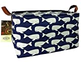 HUNRUNG Rectangle Storage Basket Cute Canvas Organizer Bin for Pet/Children Toys, Books, Clothes Perfect for Rooms/Playroom/Shelves (Whale)