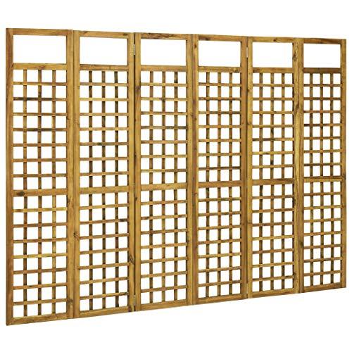 vidaXL Madera Maciza de Acacia Biombo/Enrejado de 3 Paneles Separador Plegable Jardín Patio Terraza Balcón Aire Libre Exterior Interior