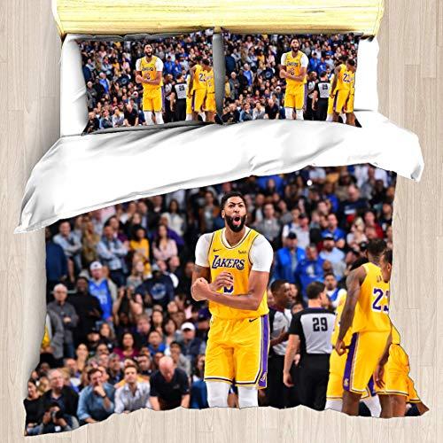 Juego de funda nórdica Anthony Los Angeles Jugador de baloncesto 3 ropa de cama The Brow Davis Lakers Super Star Make The Basket Zone Defense Edredón con 2 fundas de almohada New Orleans Charlotte Pel