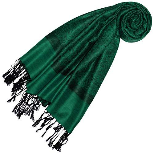 Lorenzo Cana Pashmina Damen Schal Schaltuch jacquard gewebt Paisley Muster 70 cm x 180 cm Tuch Naturfaser Smaragdgrün Schwarz 93323