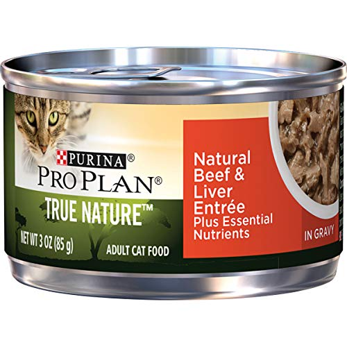 Purina Pro Plan Natural Gravy Wet Cat Food, TRUE NATURE Natural Beef & Liver Entree - (24) 3 oz. Pull-Top Cans