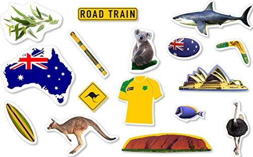 Preisvergleich Produktbild XXL-Großkonfetti * AUSTRALIEN * mit 45 großen Konfetti-Teilen für eine Motto-Party oder Länder-Party / / Party Kinder Kindergeburtstag Konfetti Deko Motto Aussie