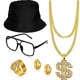 5 Pieces Hip Hop Costume Kit Bucket Hat...