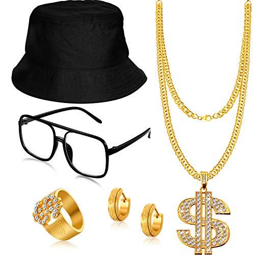 SATINIOR Hip Hop Kostüm Kit Eimer Hut Sonnenbrille Dollarzeichen Gold Ketten Ring Hip Hop Ohrring 80er/ 90er Rapper Zubehör