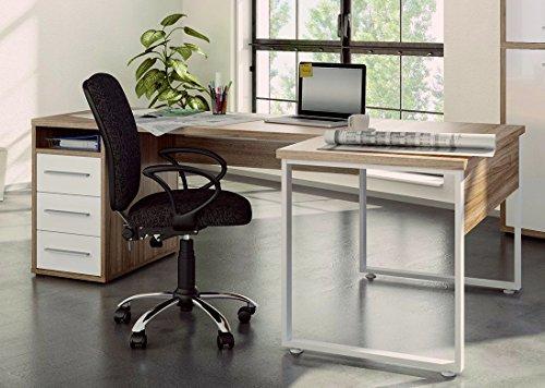 moebel-dich-auf Maja Eckschreibtisch Winkelschreibtisch Schreibtisch Set Plus 1675 1679 Büromöbel in Eiche Natur/Weißglas Schenkelmaß 120x220 oder 220x120