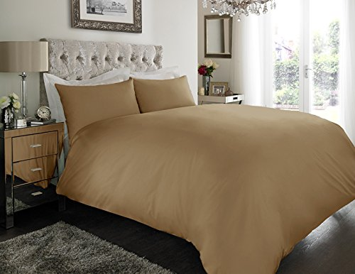 Sapphire Collection 100% Egyptian Cotton 200 Thread Count Duvet Cover With Pillow Case Bedding Set (Double, Mocha)