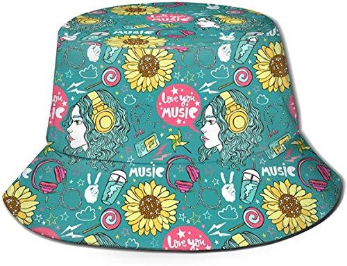 BONRI Sombrero de Pescador Unisex Fashion Love You Music Gorra de Pescador Plegable UV Negro