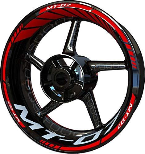 Motocicleta Moto Llanta Inner Rim Tape Decal Pegatinas F2 para Yamaha MT07 MT-07 MT 07 (Rojo/Blanco 2)