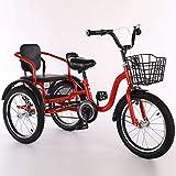 YZ-YUAN Deportes al Aire Libre Bicicletas de Tres Ruedas para niños, niños y niñas, Triciclo de 16 Bicicletas de 18 Pulgadas y 3 Ruedas Bicicletas de Crucero Cómodas biplazas, diseño de manija conve