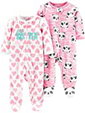 Simple Joys by Carter's 2-Pack Fleece Footed Sleep Play Infant-and-Toddler-Bodysuit-Footies, Pequeña Hermana/Pandas Rosas, 3-6 Meses, Pack de 2