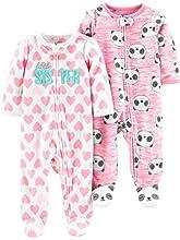 Simple Joys by Carter's 2-Pack Fleece Footed Sleep and Play Pijamas para bebés y niños pequeños, Rosa, Panda/Corazones, 3-6 Meses, Pack de 2