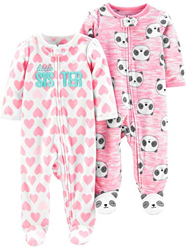 Simple Joys by Carter's Paquete de 2 Bolsillos con Cremallera de 2 vías para Dormir y Jugar Infant-and-Toddler-Bodysuit-Footies, Pequeña Hermana/Pandas Rosas, 6-9 Months, Pack de 2